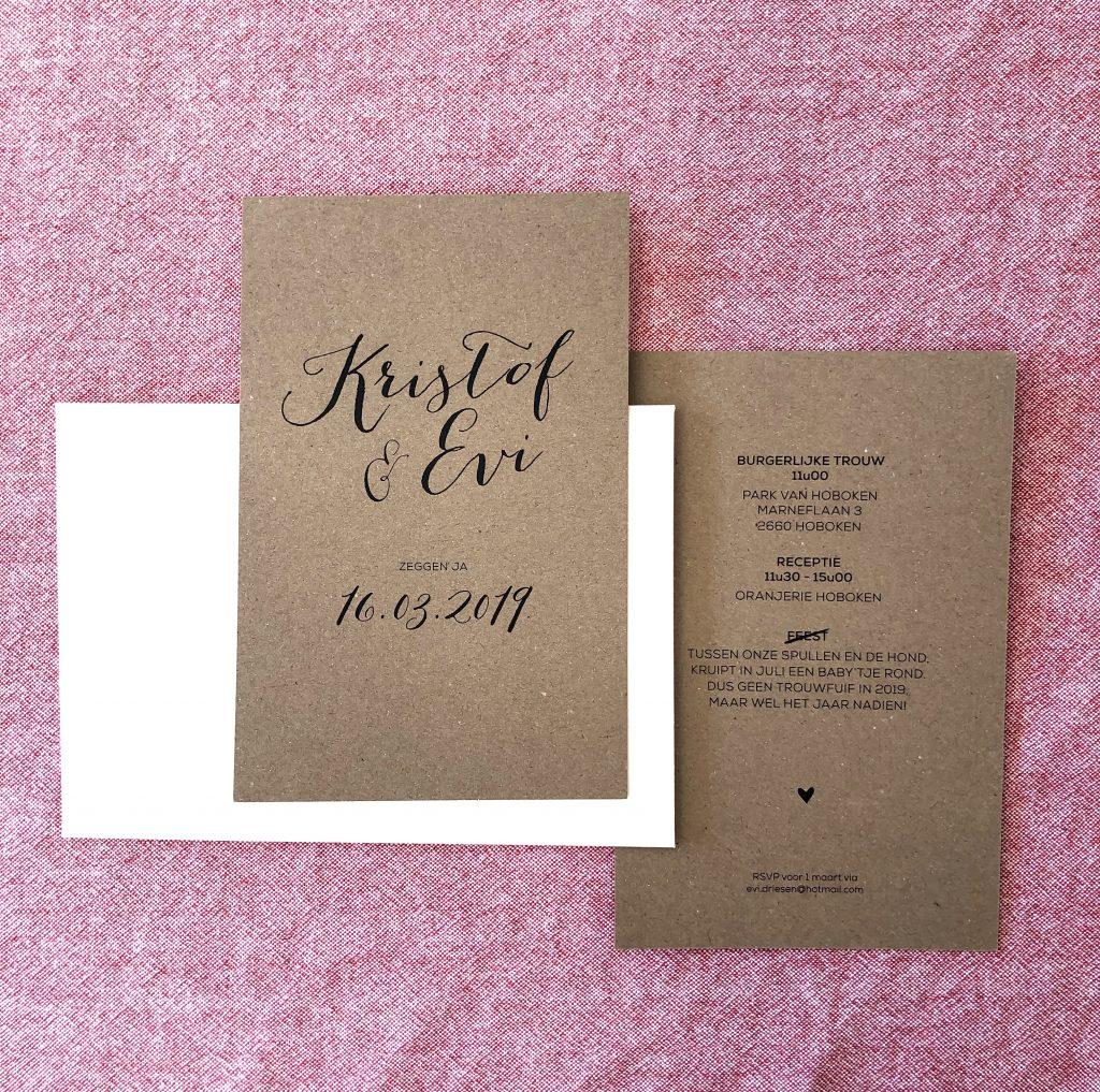 Evi Driesen - trouwuitnodiging